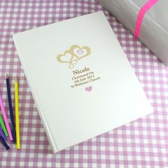 Personalised Love Hearts Pink Traditional Photo Album