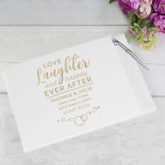Personalised Happily Ever After Wedding Guest Book & Pen