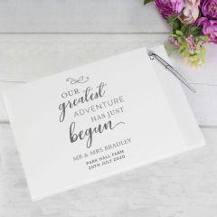 Personalised Greatest Adventure Wedding Guest Book & Pen