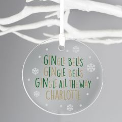 Personalised GINgle Bells Round Acrylic Decoration