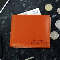 Personalised Message Tan Brown Leather Wallet