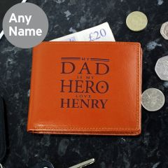 Personalised My Dad is My Hero Tan Brown Leather Wallet