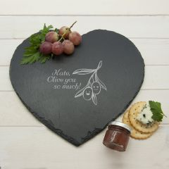 """Romantic Pun Olive You So Much"""" Heart Slate Cheese Board"""""""