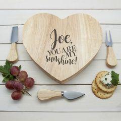 Engraved My Sunshine Oak Heart Cheese Board