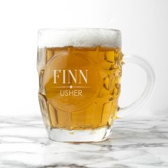 Personalised Wedding Dimpled Beer Glass