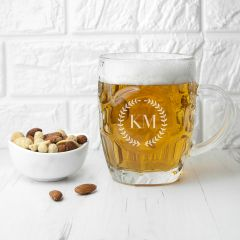 Wreath Mongorammed Dimpled Beer Glass