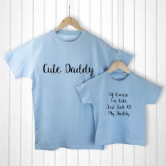 Personalised Daddy and Me Cuties Blue T-Shirts