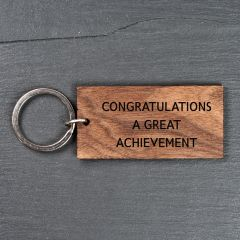 Personalised Rectangle Walnut Keyring