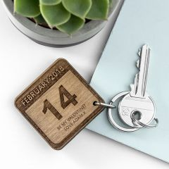 Personalised Special Calendar Day Square Keyring
