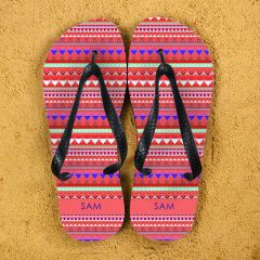 Aztec style Personalised Flipflops in Red