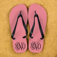Monogrammed Flip Flops in Pink and Grey