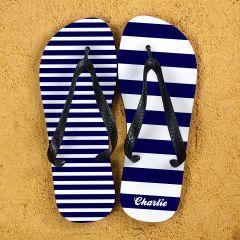 Striped Personalised Flip Flops in Blue
