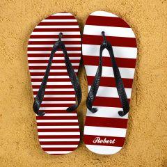 Striped Personalised Flip Flops in Red