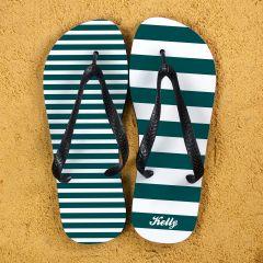 Striped Personalised Flip Flops in Teal