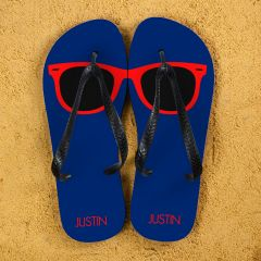 Holiday Style Personalised Flip Flops in Navy and Red