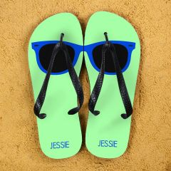 Holiday Style Personalised Flip Flops in Green and Blue