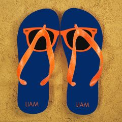 Holiday Style Personalised Flip Flops in Blue and Orange