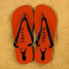 Stag Design Personalised Flip Flops in Orange