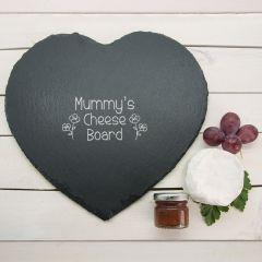 Cute Children's Handwriting Heart Slate Cheese Board