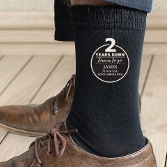 Personalised 2nd Wedding Anniversary Mens Socks