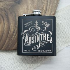 Personalised Absinthe Matt Black Vintage Hip Flask