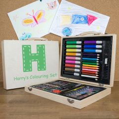 Personalised Children's 63 Piece Colouring In Set in Wooden Case