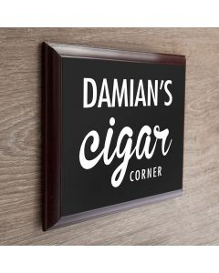 Personalised Cigar Corner Wooden Plaque