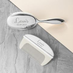 Personalised Classic Silver Plated Baby Brush And Comb Set