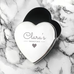 Personalised Contemporary Silver Heart Trinket Box
