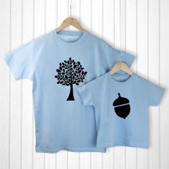 Personalised Daddy & Me, Tree & Acorn Blue T-Shirt Set