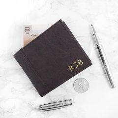 Personalised Dark Brown Vegan Leather Cork Wallet