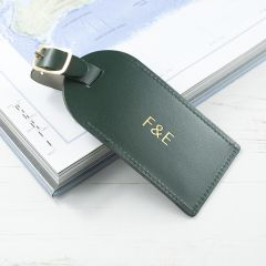 Personalised Dark Green Foiled Leather Luggage Tag