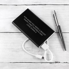 Personalised Engraved Black Powerbank