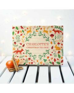 Personalised Woodland Design Christmas Tea Box