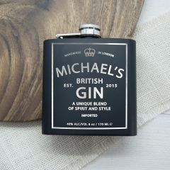 Personalised Gin Vintage Matte Black Hip Flask