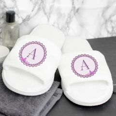 Personalised Butterfly Design Initial Velour Slippers