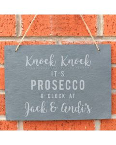 Personalised It's Prosecco O'clock Large Slate Hanging Sign