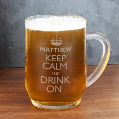 Personalised Keep Calm & Drink, Glass Beer Tankard