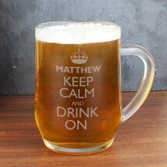 Personalised Keep Calm & Drink, Glass Beer Tankard
