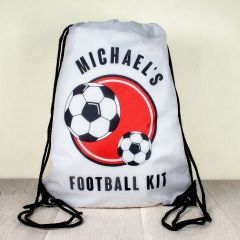 Personalised Kids Drawstring Football Sports Bag