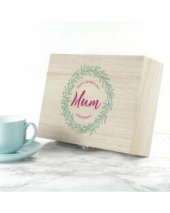 Personalised Leaf Wreath Tea Box