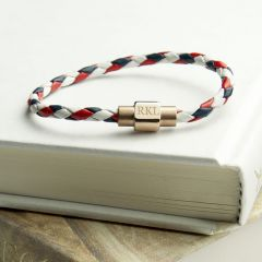 Personalised Women's Nautical Leather Bracelet With Gold Clasp