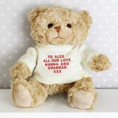 Personalised Message Teddy Bear in Cream Jumper