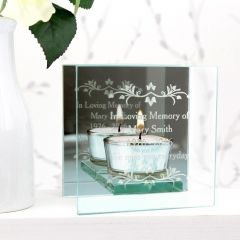 Personalised Sentiments Mirrored Glass Tea Light Candle Holder Gift