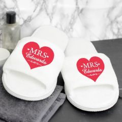 Personalised Mrs Velour Slippers with Heart Design