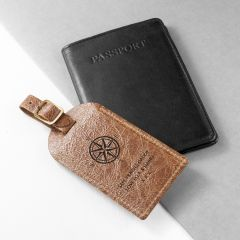 Personalised Natural Tan Engraved Leather Luggage Tag with Compass Design