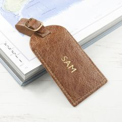 Personalised Natural Tan Foiled Leather Luggage Tag