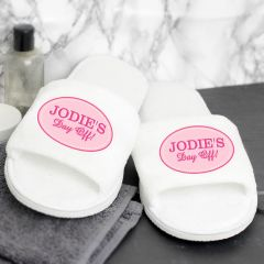 Personalised Pink Oval Design White Velour Slippers