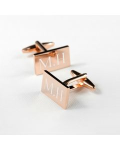 Personalised Rose Gold Plated Rectangular Cufflinks