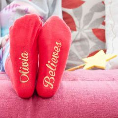Personalised Red & Gold Kids Socks